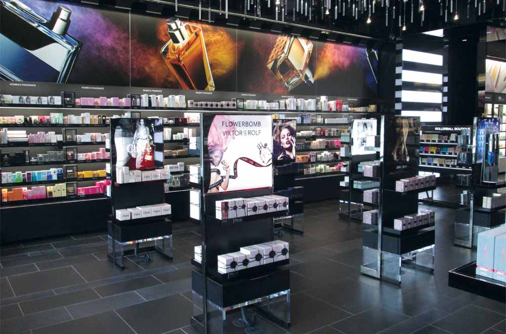 Product Display Units in Black With Two Shelves (Front and Back) for Product Display And Large Illuminated Banner At Top - Designed and Manufactured for Sephora