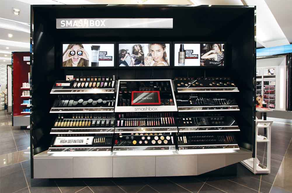 Open System With Multiple Levels of Makeup Product Display - Designed and Manufactured for Smashbox