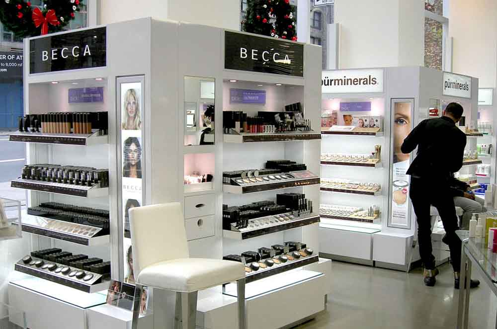 Complete Retail Environment With A Couple of Four-Sided Display Units with Four Levels of Shelving for Product Display (In White Color)