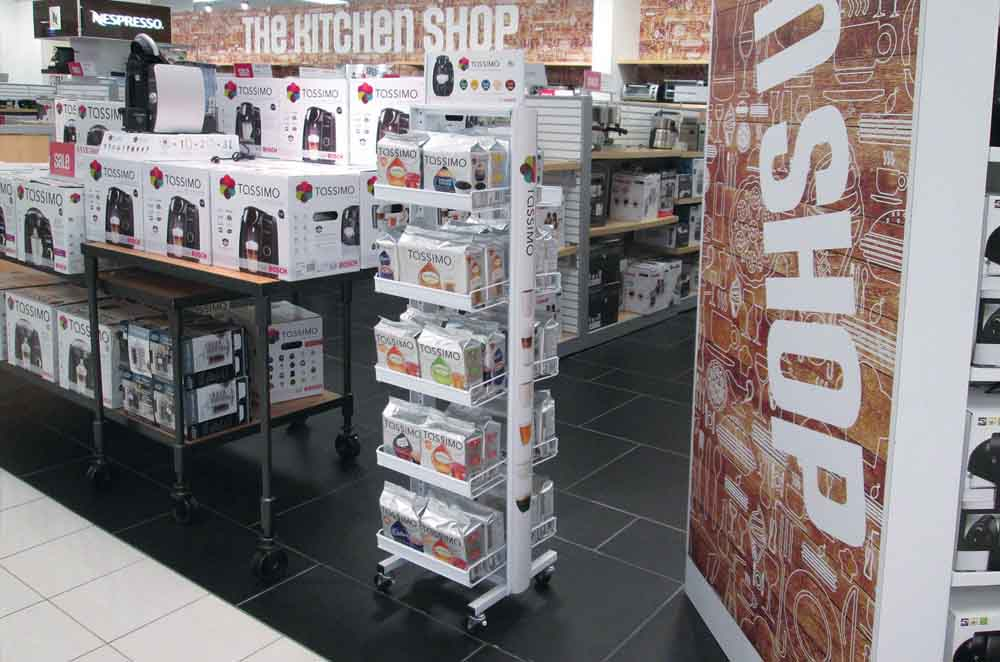 Rolling White Product Display Unit With Five Leves of Shelving - Designed and Manufactured for Tassimo