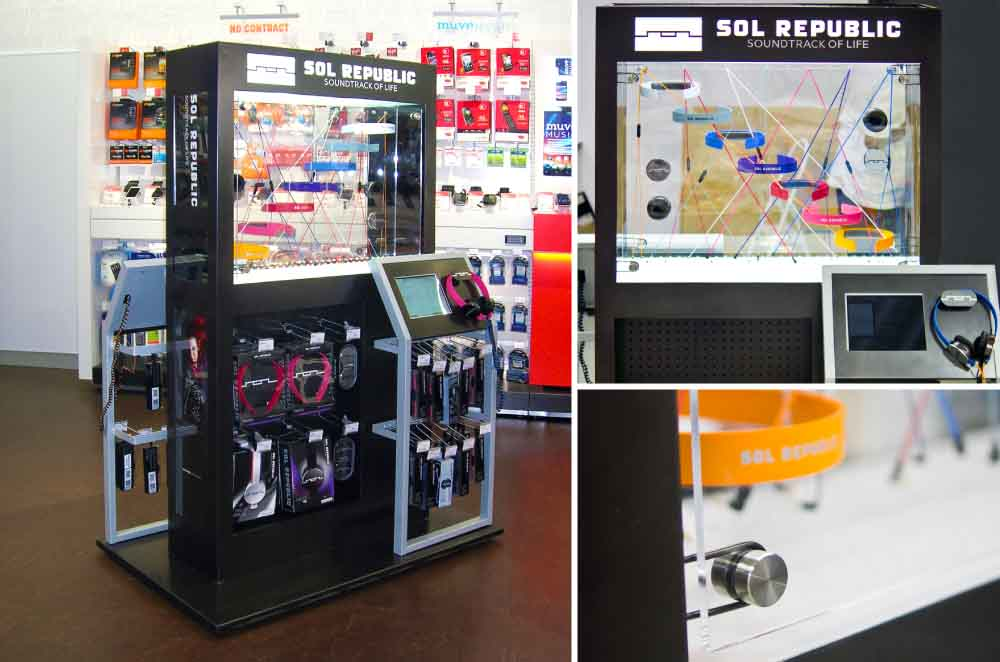 Interactive Kiosk With Ipad and LED Lighting to Educate Client About Product - Designed and Manufactured for Radio Shack