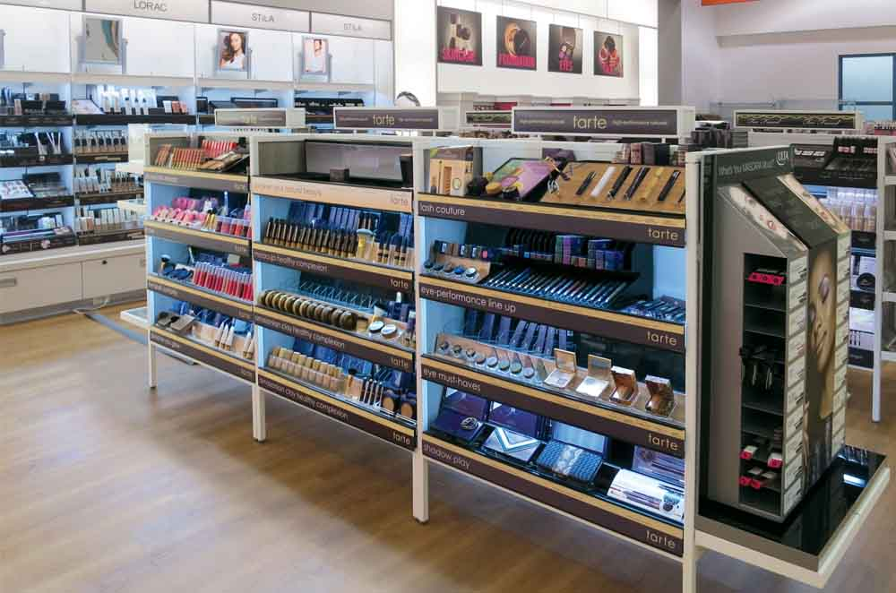 Image of Open Service System With Three Levels of Shelves for Makeup Display - Designed and Manufactured for Ulta